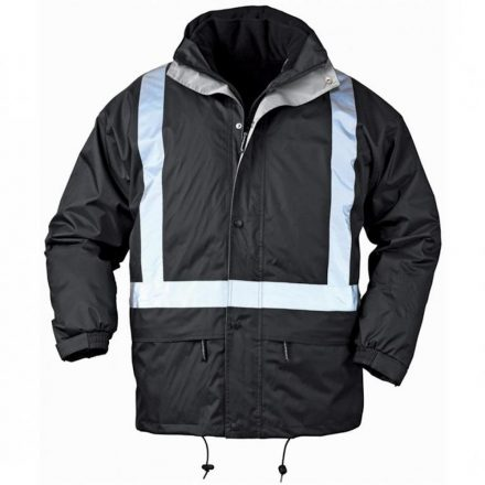 Bodyguard fekete 4/1 télikabát, fényvisszaverő csíkkal